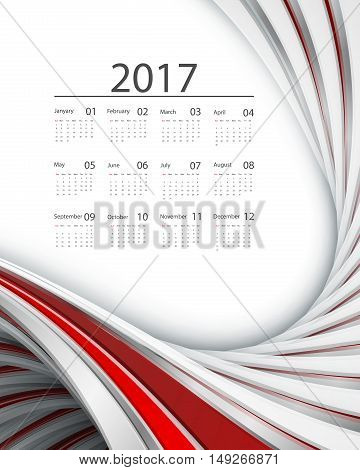 2017 vector calendar design. Wavy bright lines. Elements for your work. Eps10