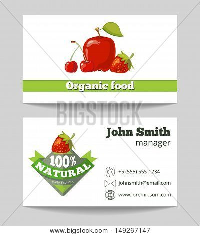 Organic food shop business card template with red fruits. Vector illustration