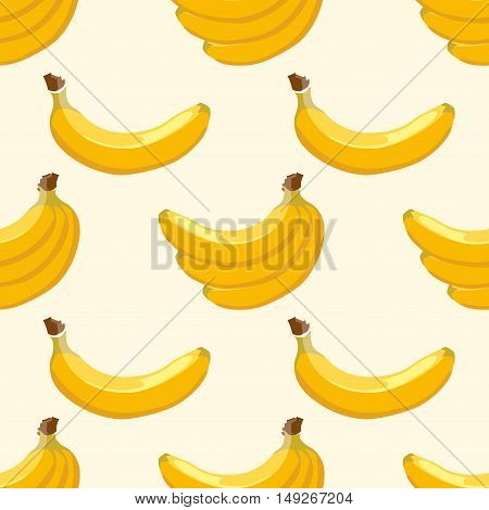 Yellow vector banana seamless background pattern. Sweet tropical fruit illustration