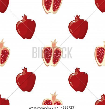 Red vector pomegranate and and half of fruit seamless background illustration