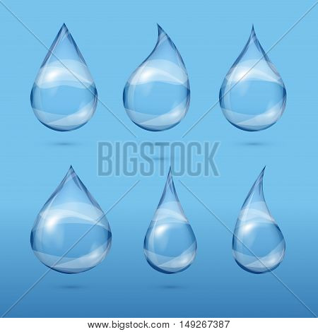 Set of realistic transparent water drops. Fresh droplet clear, vector illustration