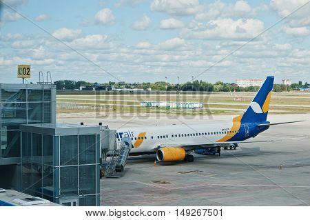 Kyiv, Ukraine -15 August 2016: Aircraft  Azur Air Ground Handling In Airpor Tat The Boryspil Near Ky
