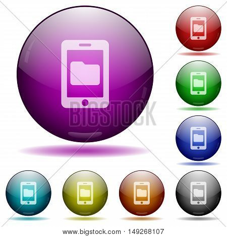 Set of color smartphone data storage glass sphere buttons with shadows.