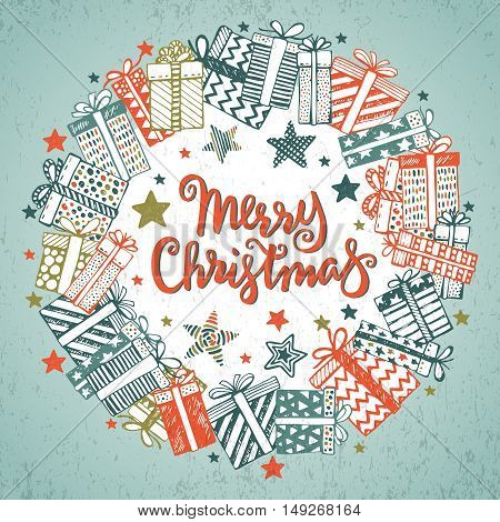 Christmas greeting card with hand drawn ornate presents, stars on white background in wreath shape. Handwritten lettering Merry Christmas. Vector Holiday illustration.
