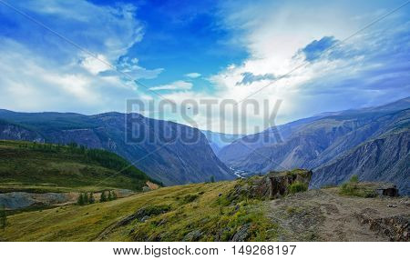 mountain valley height of the autumn day near valley Chulyshman in Altai mountains. Russia