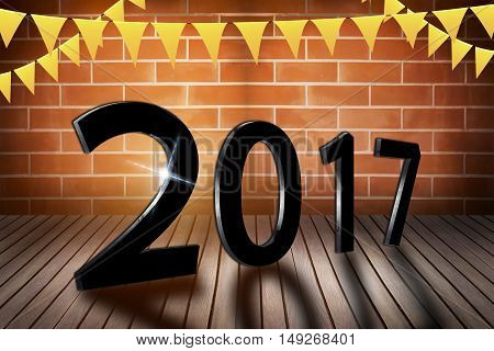 Happy New Year 2017 on nature concept wood number idea