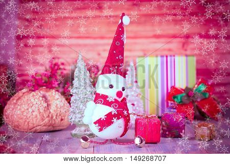 Christmas decoration with fake snow flake background