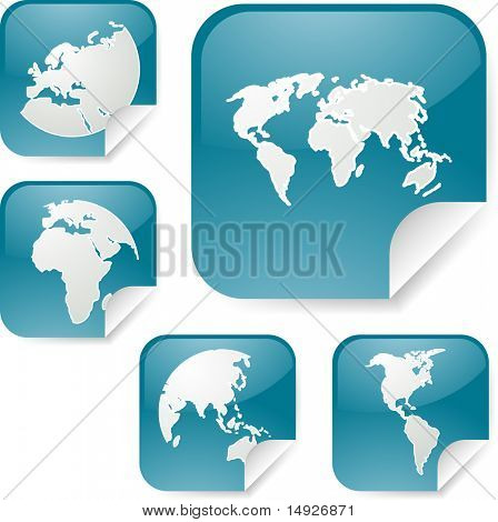 World map icons on square sticker shapes