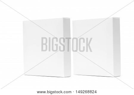 Two White Box Or White Paper Package Box Isolated On White Background