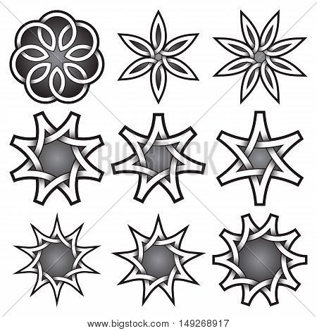 Set of logo templates in Celtic knots style. Tribal tattoo symbols package. Nine silver stamps for jewelry design. Monochrome decorative elements.