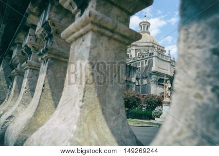 Photos of individual parts of the Cathedral of Saint Agatha in Catania Piazza del Duomo in Sicily, Italy