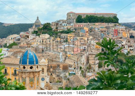 Colorful houses in old medieval village Ragusa in Sicily, Italy