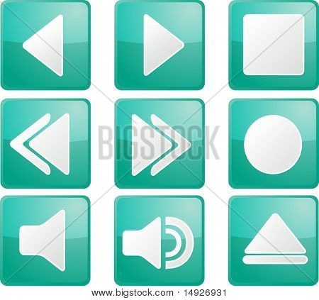 Audio music player icon set, square buttons