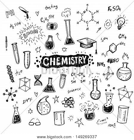 Hand drawn chemistry icons sketch set. Doodle flasks, formulas, scribbles for your design.