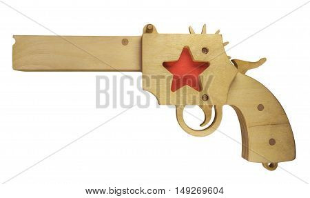 Wooden toy gun isolated on white with clipping path