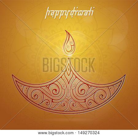 Elegant greeting card for Diwali festival with diya lamp