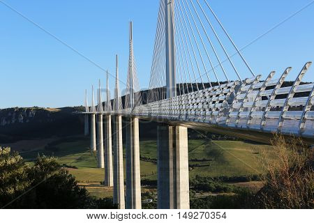 Millau France - August 21 2016: The Millau Viaduct Is The Tallest Bridge In The World with One Mast's Summit At 343 Metres Above The Base Of The Structure. Aveyron Midi Pyrenees France