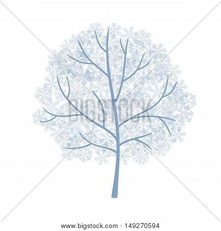 Winter Tree Covered With Snowflakes