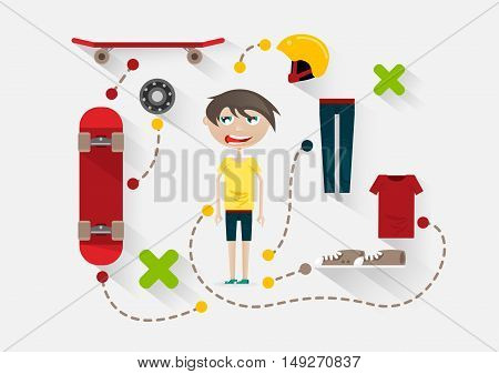 Flat guy with skate and items for skating