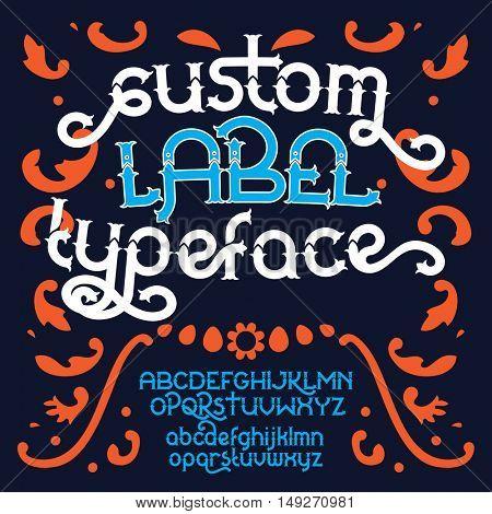 Custom retro typeface. Vintage alphabet font set on the dark background. Vector illustration