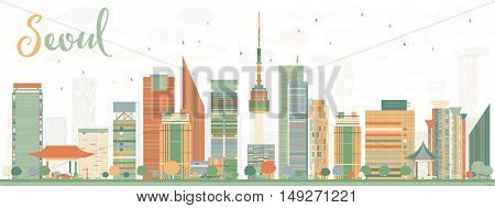 Abstract Seoul Skyline with Color Buildings. Business Travel and Tourism Concept with Modern Buildings. Image for Presentation Banner Placard and Web Site.