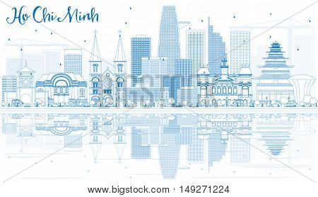 Outline Ho Chi Minh Skyline with Blue Buildings and Reflections. Business Travel and Tourism Concept with Modern Buildings. Image for Presentation Banner Placard.