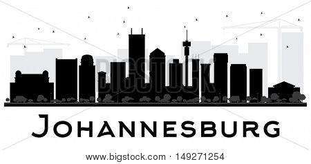 Johannesburg City skyline black and white silhouette. Simple flat concept for tourism presentation, banner, placard or web site. Business travel concept. Cityscape with landmarks