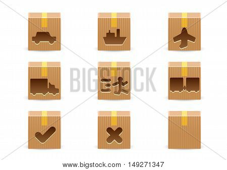 Delivery cardboard boxes isolated on white background