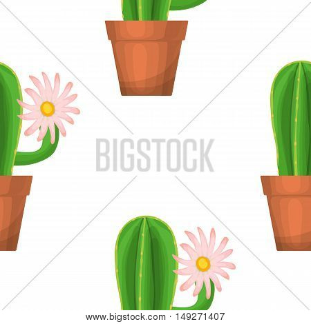 Cactus in pot - floral seamless pattern. Vector succulent plant with flower on a white. Green garden background. Summer nature illustration with houseplant in cartoon style
