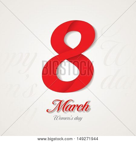 8 March Women's Day greeting card design template.