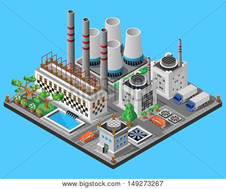Nuclear power plant. Icon or infographic element. 3D isometric view. Vector illustration.