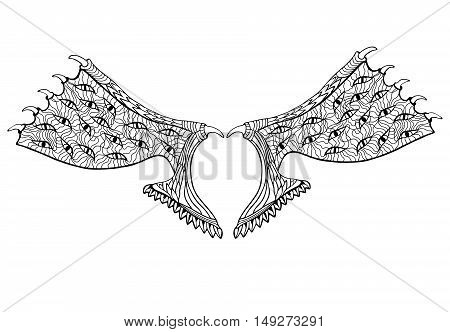 Devil wings. Zentangle style. Coloring book or tattoo.Vector illustration.
