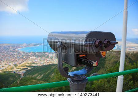 Binoculars On The Background Of The Beautiful Sea View