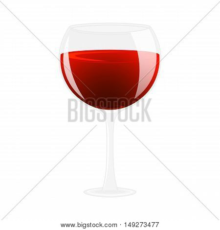 Glass of wine. Alcohol drink. Isolated on white vector illustration. Cartoon style.