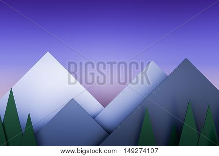 mountain view twilight stack paper material layer background 3d render