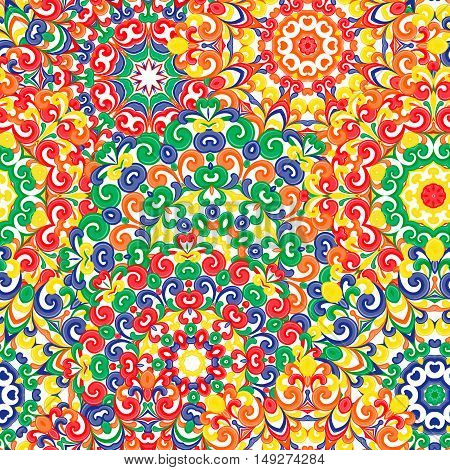 Seamless colorful ethnic pattern with mandalas in oriental style. Round doilies with red, green, yellow, orange, curls and swirls weaving in arabesque traditional lace ornament. Vector illustration
