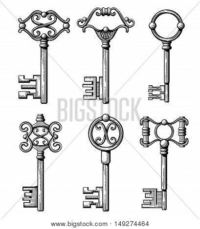 Vintage medieval keys, antique chaves vector illustration. Filigree key for access and open door
