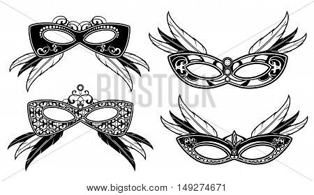 Veneto masquerade masks with lace luxury pattern vector. Carnival venetian mask for face illustration