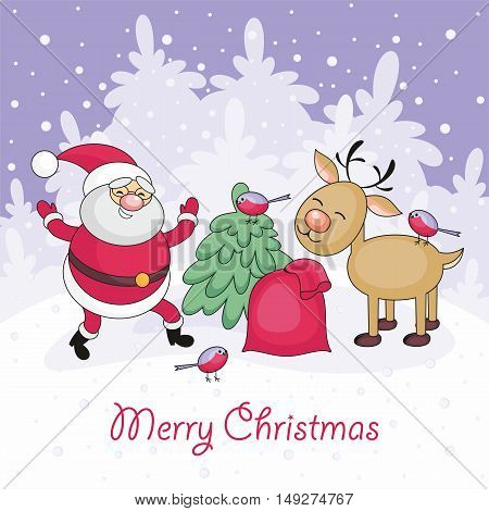Merry Christmas greeting card with Santa Claus's image, a deer and a bag with Christmas gifts