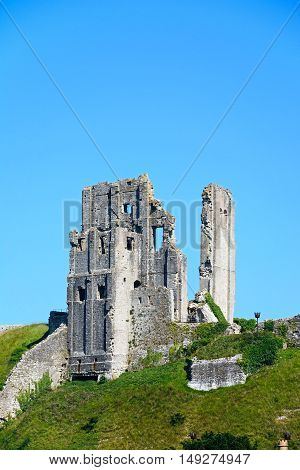 View of Corfe castle on the hilltop Corfe Dorset England UK Western Europe.
