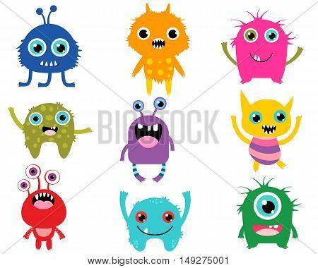 Vector Set of  Cute Little Alien Monsters