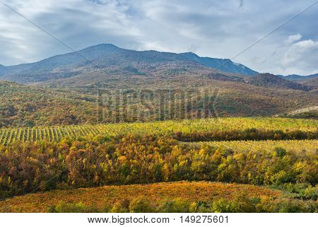 Mountain landscape near Alushta city at fall season - Crimea Ukraine.