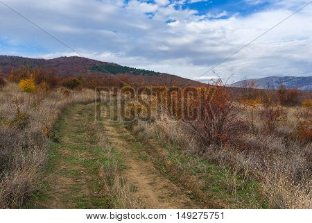 Deep afternoon in Crimean mountains at fall season.
