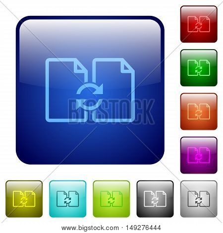 Set of swap documents color glass rounded square buttons