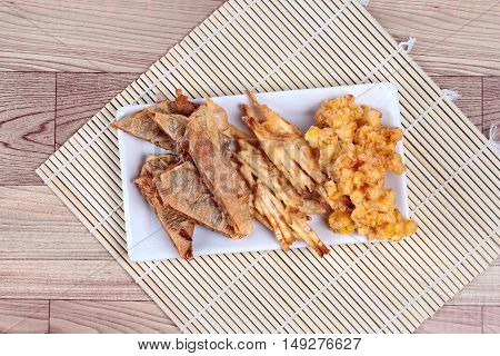 Deep fried mixed vegetable for  in Vegetable festival of Chinese as stir taro in tofu sheet,sliced taro and sweet corn fried.