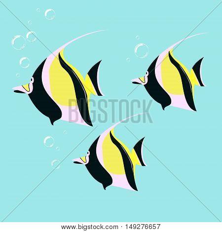 Marine fish color flat design. Sea and fish ocean fish animal exotic drawing illustration marine life sea fish