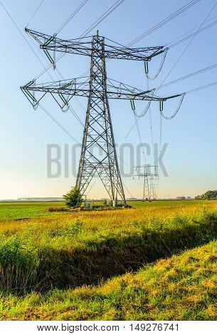 High voltage pylons and cables in a rural area in the Netherlands. It's a sunny day in the beginning of the fall season.