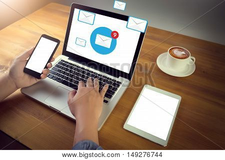 email icon ConceptConcept business man work hard