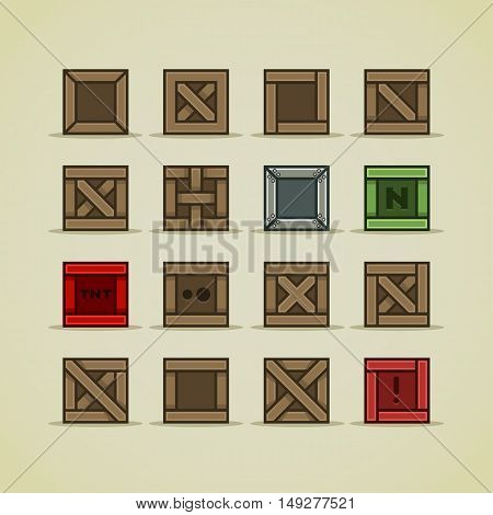 Set of sixteen crates for creating video game