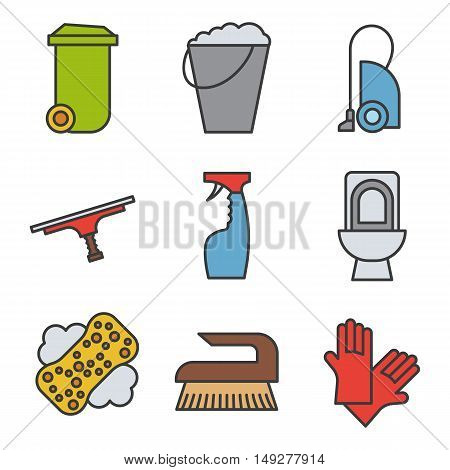 Cleaning items and tools color icons set. Trash can, bucket, vacuum cleaner, spray, toilet, brush and rubber gloves. Logo concepts. Vector isolated illustration.